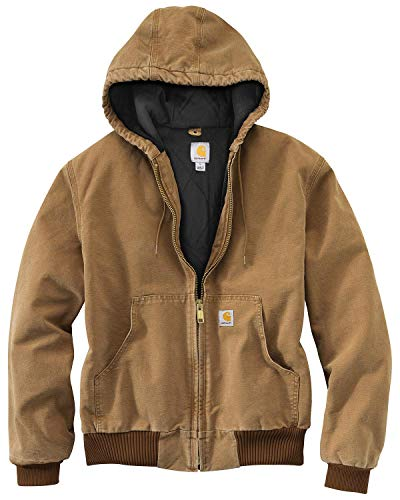 Carhartt Men's Quilted Flannel Lined Duck Active Work Jacket Brown Large Tall