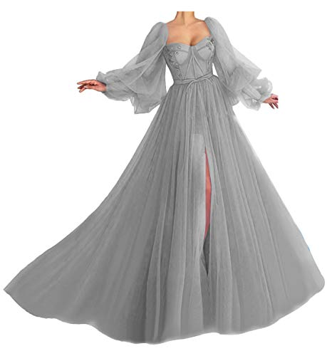 Off Shoulder Split Prom Dresses for Women Long Sleeves Quinceanera Dresses Tulle Birthday Party Dresses for Women Light Grey Plus Size 26