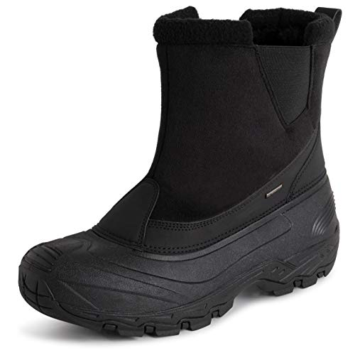 Polar Mens Waterproof Outsole Deep Tread Fully Faux Fur Lined Winter Durable Snow Boots - Black Pull On - EU42/US9 - YC0684