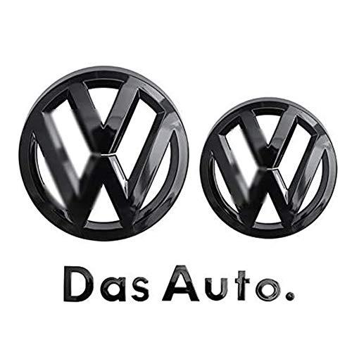 Dapang Schwarzes Logo Emblem für Kühlergrillabdeckung/Heckklappen-Heckklappen-ABS-Aufkleber für 2014-2020 Volkswagen Golf 7,Bright Black,Golf 7