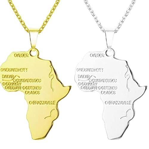 2 Unids Mapa África Collar Colgante Collar Hip Hop Jewelry 50 Cm Cadena Larga Plateado África Mapa Collar para Hombres Mujeres