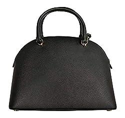 Michael Kors Emmy Dome Satchel Saffiano Leather Shoulder Bag Purse Handbag (Black), Medium