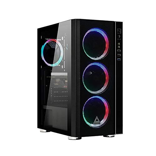 Montech Fighter 600 ATX Mid-Tower Computer Case/Pre-Installed Rainbow Fans4, High-Airflow, Full Mesh Panel, Pull-Out Glass, Hard Drive Installation, Magnetic Dust Filter/ATX, MicroATX, Mini-ITX