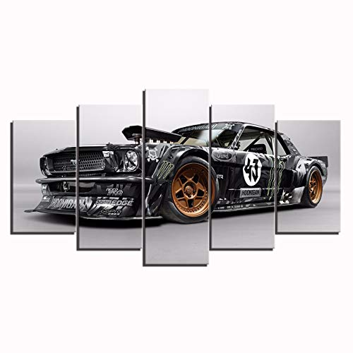 Karen Max Wall Art Modern Poster Home Decor Frame Wall Art Pictures for Living Room 5 Pieces Ford Mustang RTR Car Painting Canvas HD Printed (Size 2:12x16inchx2,12x24inchx2,12x32inchx1frameless