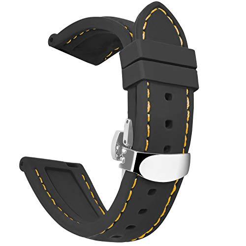 OLLREAR Unisex Silikon Uhrenarmbänder Silber Butterflyschließe 24mm Schwarz Orange