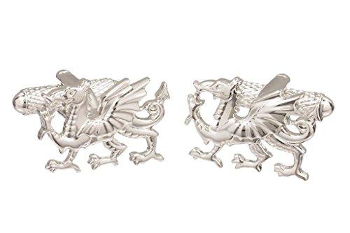 Boutons de manchette en dragon gallois - Disponible en couleur argent ou couleur or, Silver, Taille Unique