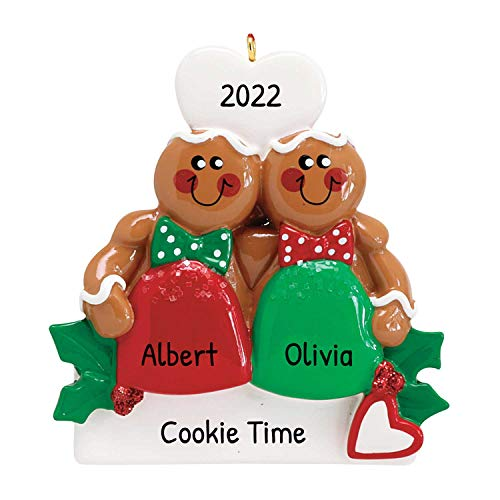 Personalized Gum Drop Gingerbread Couple Christmas Tree Ornament 2019 - Best Friend Sibling Hug Cookie Heart Twins Babies' Cute 1st Together Tradition Grand-Kid Year - Free Customization