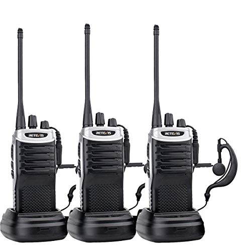 Retevis RT7 Walkie Talkies Rechargeable, Adults Two Way Radios Long Range,Portable 2 Way Radio with Earpiece,VOX Flashlight,for Family Camping Hiking(3 Pack)