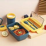 UKKD Caja de almuerzo 1100 Ml Microondas Bento Box Portable Caja De Alimentos De 2 Capas Almuerzo Saludable Bento Box Cutlery Set