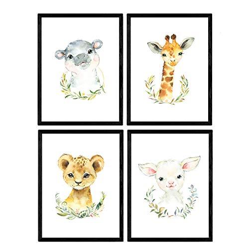 Pack de cuatro láminas con ilustraciones de animales. Posters con imágenes infantiles de animales. Cabra girafa hipopotamo y leon. Tamaño A4 sin marco