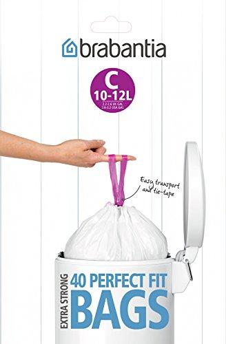 Brabantia 361982 Distributeur de 40 Sacs Poubelles Poignées Coulissantes C-10/12 L Blanc