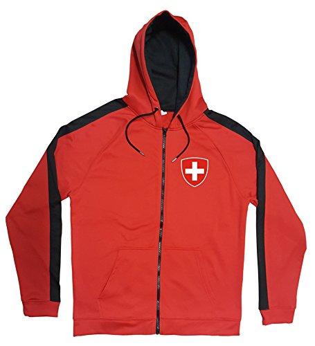 Schweiz Jacke Sweater Rot JA GO Schweiz Trikot Look Zip Nation Fussball Sport (L)