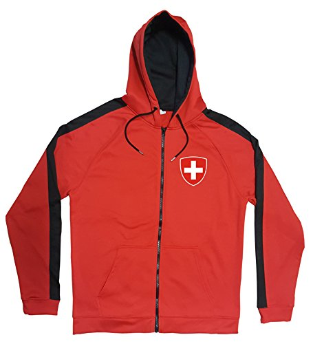Giacca Svizzera Rosso JA GO Svizzera Maglia Look Zip Nation Calcio Sport Colore: rosso XXL