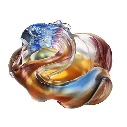 LILICEN Cenicero, Dragón Cenicero Cristal Oficina de la decoración del hogar de Escritorio, Creativo cigarro Cenicero Accesorios, Regalos de Moda Ash comerciales (148X128X83MM)