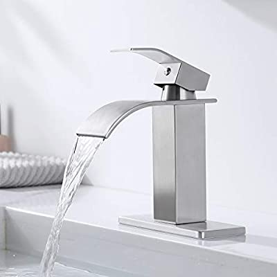 Lead-Free Stainless Steel Bathroom Faucet Brushed Nickel, Single Handle Bathroom Sink Faucet with Deck Plate, Water Supply Hoses Included