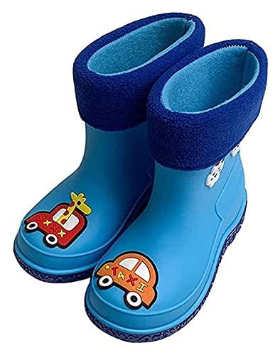 YYhkeby Botas de lluvia para mujer, botas de lluvia de dibujos animados para niños y niñas, botas de lluvia antideslizantes para jardín de infantes (color: azul, tamaño: 20,5 cm) Jialele