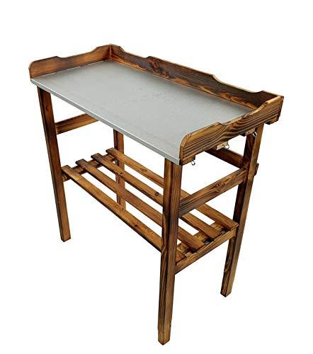 BLIZNIAKI Gartentisch aus Holz mit Blumenregal, 82 x 38 x 78 cm, perfekt für Garten, Terrasse oder Balkon, mit verzinkter Platte, wetterbeständig 45500001 Opal