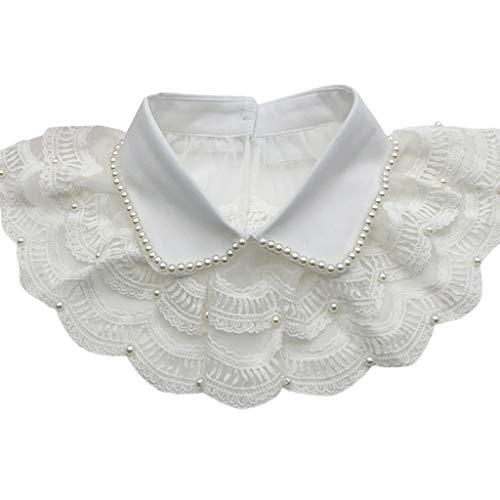 ERUYN Collar Falso de Encaje Plisado en Capas Chal Perla Rebordear Solapa Media Camisa Collar Blanco