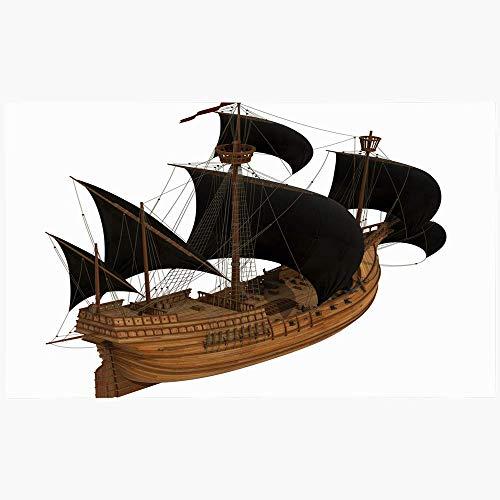 Zome Lag 50X80CM,Bodenmatte,Duschmatte,Teppich,Fußabtreter,Badezimmerteppich,Regatta Gan Schiffsgeschichte 3D Segelboot Modell Auf White Caravel Transport Navy Fregatte Vintage
