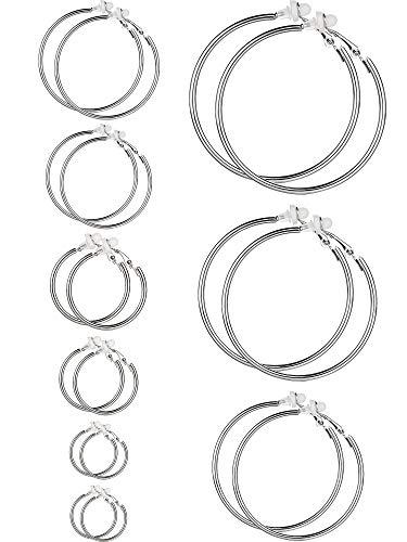 Ohrringe Clip On Ohrringe Nicht Piercing Ohrringe Set für Damen und Mädchen, Verschiedene Größen (Silber, 9 Paare)