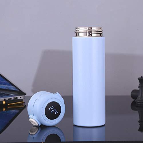Jusemao Botella de agua aislada de acero inoxidable con pantalla led de temperatura de rebote tapa botella de agua 500ml-azul cielo_500ml