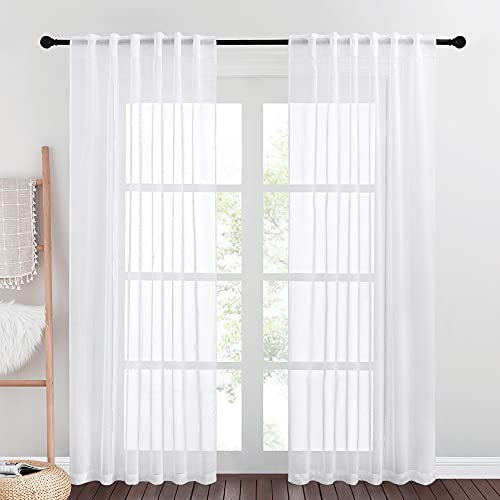"""NICETOWN Semi-Sheer Texture Curtain Panels - Privacy Light and Airy Rod Pocket & Back Tab Design Semitransparent Sheer Voile Drapes for Living Room, 55"""" x 84"""", 2 Pieces"""