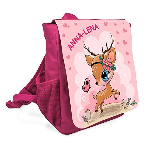 Cartoonie Individualisierter Kinderrucksack mit personalisiertem Wunschnamen – Niedlichem Reh für Mädchen – Ideale Tasche für Kita oder Kindergarten – Kinder-Rucksack mit Brustgurt (Pink)