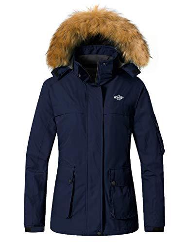 Wantdo Women's Rain Jacket Waterproof Ski Coat Snowboarding Jackets Windbreaker Dark Blue 2XL