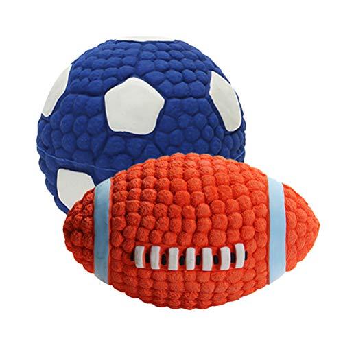 STOBOK 2 juguetes deportivos con sonido para masticar mordedura de juguete para perros cachorros (1 pieza de rugby 1 pieza de fútbol tamaño S) mascotas favorecen juguetes para cachorros