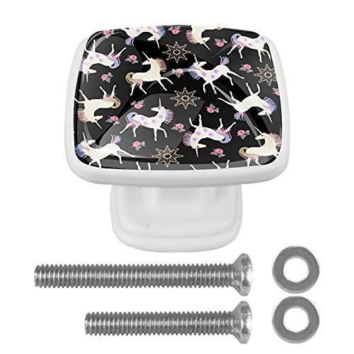 Perilla de cajón de 4 piezas Unicornios de hadas negro Tiradores cuadrados de cristal coloridos del cajón del gabinete para la decoración de Ministerio del Interior 3x2.1x2 cm