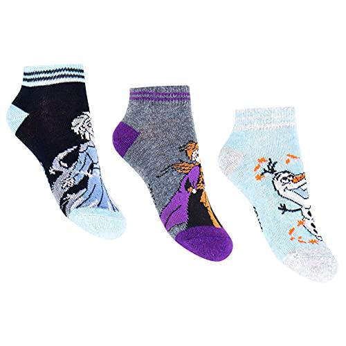 3 pares de calcetines Disney Frozen, Anna y Elsa, Olaf, tallas 23-26/27-30/31-34 multicolor 23-26