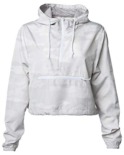 Global Blank Women's Cropped Jacket Crop Top Windbreaker Lightweight Zip Hoodie White Camouflage