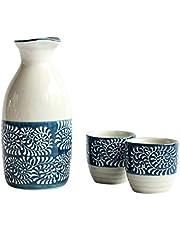 Angoily Juego de Sake Japonés de Cerámica Juego de Tazas de Sake Vintage Incluye 1 Botella de Sake de 200Ml Tokkuri Y 2 Tazas de Sake de Estilo Japonés para Regalo de Bienvenida