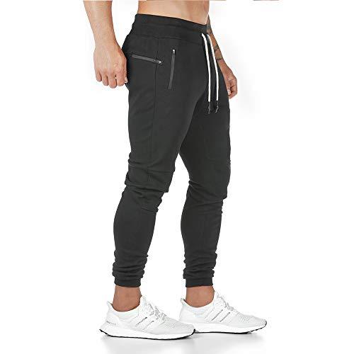 Aotorr - Pantalón de deporte para hombre (algodón, talla grande, ligero) Negro S
