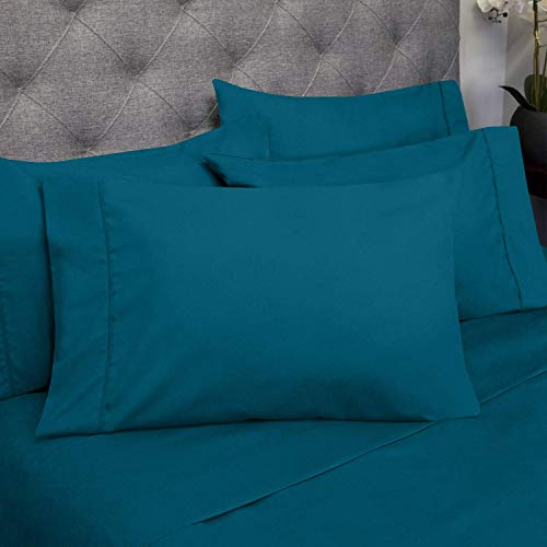 LinenEra 800 Thread-Count Best 100% Cotton Sheets & Pillowcases Set - 4 Pcs Pure Teal Long-Staple, Bedding Rv-King Sheet for Bed, Fits Mattress 14'' Deep Pocket