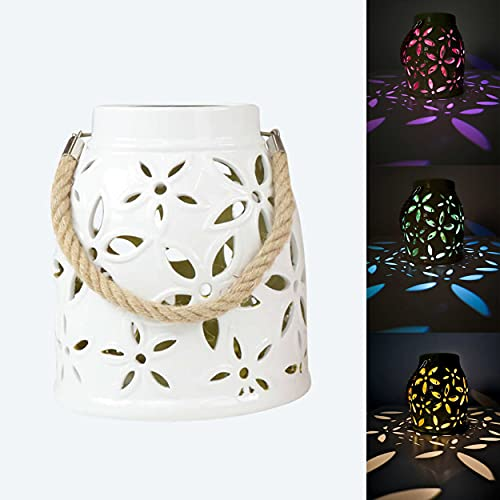 Solarlaterne für außen aus Keramik mit Blumenblüten- Wasserdicht, stehend - LED Warmweiß oder Farbwechsel - 485 (Weiß)
