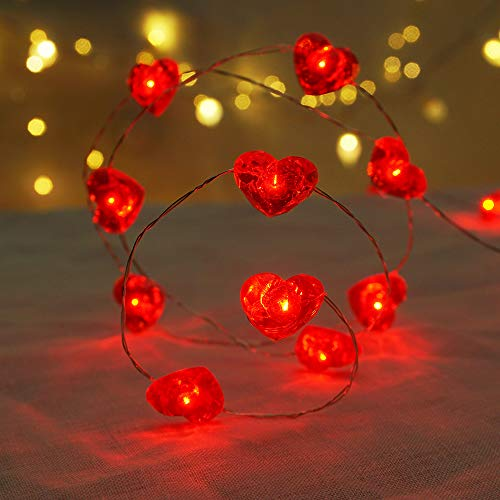BOHON Fairy String Lights 10 ft 40 LEDs Red Heart Shaped Twinkle Fairy Lights Battery Operated for Kids Bedroom Wedding Indoor Party Valentines Day Mothers Day Decor with Remote & Timer
