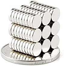 BestPriceEver 100 Pieces of 5mm X 1mm Magnets Nickel Coated Round Premium Brushed Refrigerator Magnet for Science and School Projects
