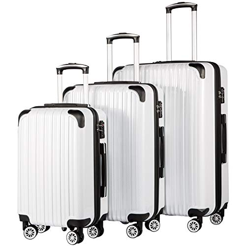 Coolife Luggage Expandable 3 Piece Sets PC+ABS Spinner Suitcase 20 inch 24 inch
