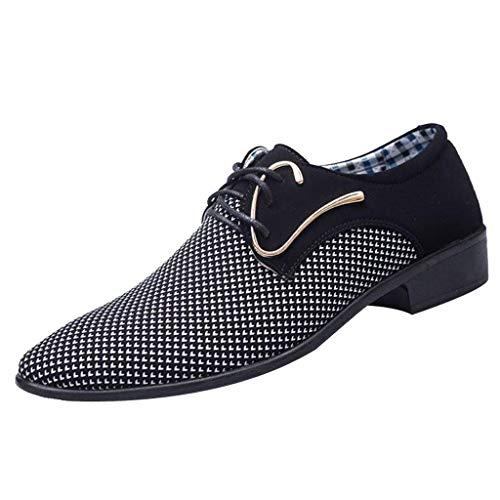 FNKDOR Schuhe Größe (38-45) Herren Geschäft Freizeitschuhe Britisches Tuch Berufsschuhe Spitz Schnürsenkel Anzugschuhe Schwarz 42 EU