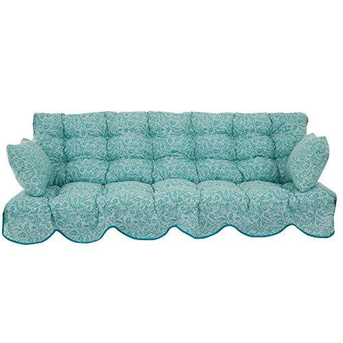 PATIO Auflagen Set Minorca 184 für Hollywoodschaukel Polsterauflage Sitzkissen Rückenkissen Seitenkissen Gesteppt (Polyester-Baumwolle, blau/Pflanzenmuster)