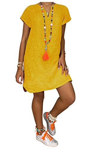 Vestido Lino Casual Tunica de Playa Mujer Bohemio Hippie Chic Camiseta Larga Manga Corta Chica Vestido Liso Niña Caftan Baño Talla Grande Vestido Verano Cuello V Kimono Vestir Mini Dress Beachwear