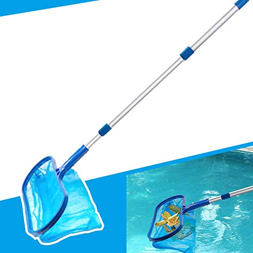Anothera Swimming Pool Skimmer Net with Pole Deep Bag Net Heavy Duty Pool Leaf Rake with Deep Bag Leaf Catcher Cleaner with 3 Feet Adjustable Aluminum Telescopic Pole Stick Joint Upgrade