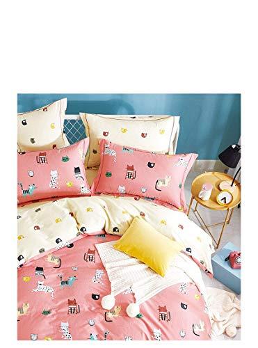 Favorite Gifts, LLC Children's Duvet Cover 3 Piece Bedding Set - CAT Kitten -Coral Pink Twin