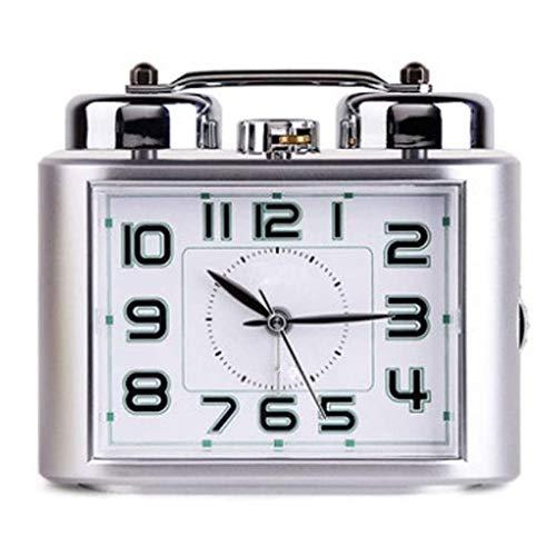 JJZST Reloj Despertador silencioso, Alimentado por la batería, Calma con luz de Noche, diseño Retro, Cocina, Dormitorio. (Color : A)