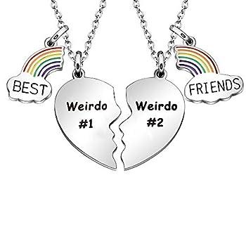 Maxforever Best Friends Gifts Best Friends 2 Split Heart Necklaces Friendship Jewelry Birthday Christmas Gifts for Best Friends  Weirdo#1 Weirdo#2