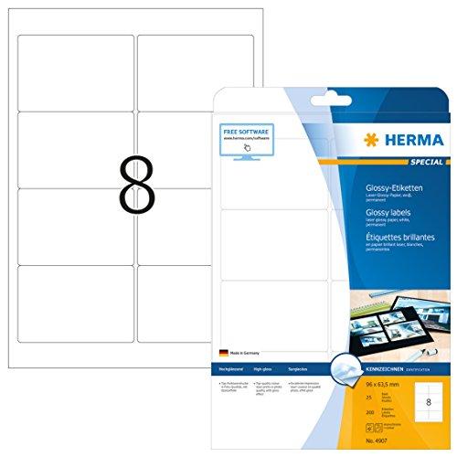 HERMA 4907 Hochglanz-Etiketten DIN A4 (96 x 63,5 mm, 25 Blatt, Papier, glänzend) selbstklebend, bedruckbar, permanent haftende Glossy Aufkleber, 200 Klebeetiketten, weiß