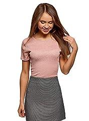 oodji Ultra Mujer Camiseta Recta con Lúrex