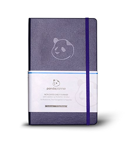 Panda Planner - Daily Planner, Calendar and Gratitude Journal to Increase Productivity, Time Management & Happiness - Hardcover, Undated Day - Quarter Year Planner - Guaranteed (Purple)