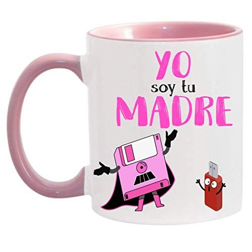 FUNNY CUP Taza Dia de la Madre. Yo Soy tu Madre. Frikis Madres. Regalo Divertido Star Wars. (Rosa)